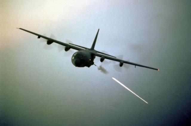 AC-130U Spooky  C 130 Gunship Firing
