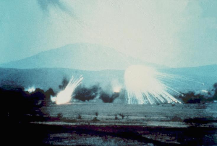 Smokescreen produced by the M825 WP projectile, which releases 116 WP-saturated wedges