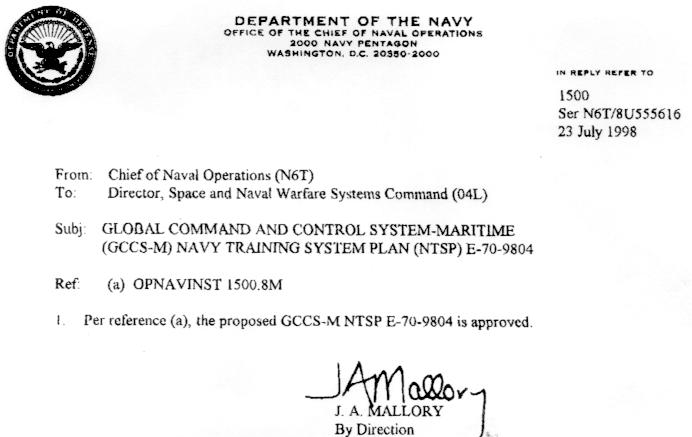 Gccs M Navy Training System Plan Ntsp